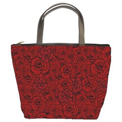 Red Roses Field Bucket Bags by designworld65