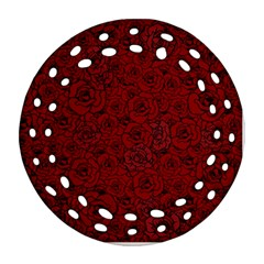 Red Roses Field Round Filigree Ornament (two Sides)