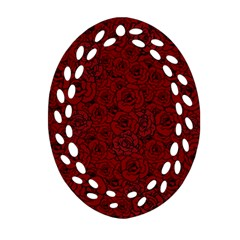 Red Roses Field Oval Filigree Ornament (two Sides)