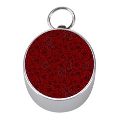 Red Roses Field Mini Silver Compasses by designworld65