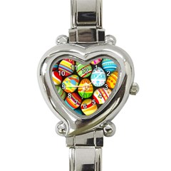 Colorful Easter Egg Heart Italian Charm Watch  by theunrulyartist