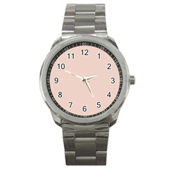 Trendy Basics   Trend Color Pale Dogwood Sport Metal Watch by tarastyle