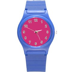 Trendy Basics   Trend Color Pink Yarrow Round Plastic Sport Watch (s) by tarastyle