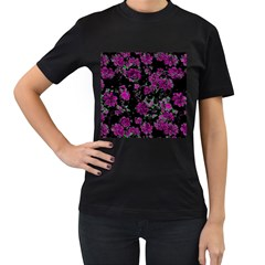 Floral Dreams 12 A Women s T Shirt (black) (two Sided) by MoreColorsinLife