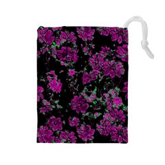 Floral Dreams 12 A Drawstring Pouches (large)  by MoreColorsinLife