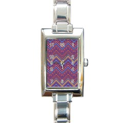 Colorful Ethnic Background With Zig Zag Pattern Design Rectangle Italian Charm Watch by TastefulDesigns