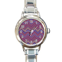 Colorful Ethnic Background With Zig Zag Pattern Design Round Italian Charm Watch by TastefulDesigns