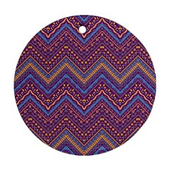 Colorful Ethnic Background With Zig Zag Pattern Design Ornament (round) by TastefulDesigns