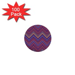 Colorful Ethnic Background With Zig Zag Pattern Design 1  Mini Buttons (100 Pack)  by TastefulDesigns