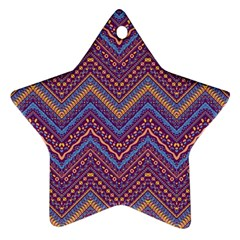 Colorful Ethnic Background With Zig Zag Pattern Design Star Ornament (two Sides) by TastefulDesigns
