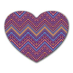 Colorful Ethnic Background With Zig Zag Pattern Design Heart Mousepads by TastefulDesigns