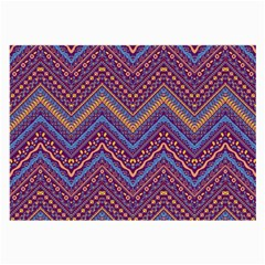 Colorful Ethnic Background With Zig Zag Pattern Design Large Glasses Cloth (2 Side) by TastefulDesigns