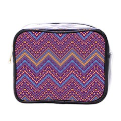 Colorful Ethnic Background With Zig Zag Pattern Design Mini Toiletries Bags by TastefulDesigns