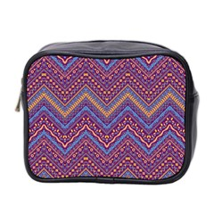 Colorful Ethnic Background With Zig Zag Pattern Design Mini Toiletries Bag 2 Side by TastefulDesigns