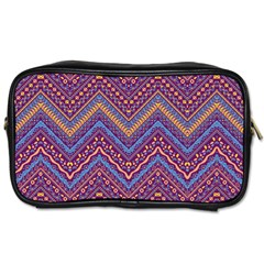 Colorful Ethnic Background With Zig Zag Pattern Design Toiletries Bags by TastefulDesigns