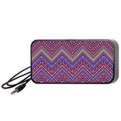 Colorful Ethnic Background With Zig Zag Pattern Design Portable Speaker (black) by TastefulDesigns