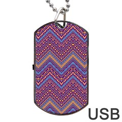 Colorful Ethnic Background With Zig Zag Pattern Design Dog Tag Usb Flash (two Sides) by TastefulDesigns