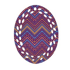 Colorful Ethnic Background With Zig Zag Pattern Design Oval Filigree Ornament (two Sides) by TastefulDesigns