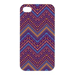 Colorful Ethnic Background With Zig Zag Pattern Design Apple Iphone 4/4s Premium Hardshell Case by TastefulDesigns