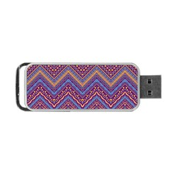 Colorful Ethnic Background With Zig Zag Pattern Design Portable Usb Flash (two Sides) by TastefulDesigns