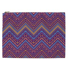 Colorful Ethnic Background With Zig Zag Pattern Design Cosmetic Bag (xxl)  by TastefulDesigns