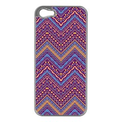 Colorful Ethnic Background With Zig Zag Pattern Design Apple Iphone 5 Case (silver) by TastefulDesigns