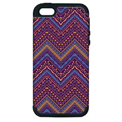 Colorful Ethnic Background With Zig Zag Pattern Design Apple Iphone 5 Hardshell Case (pc+silicone) by TastefulDesigns