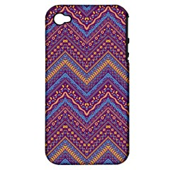 Colorful Ethnic Background With Zig Zag Pattern Design Apple Iphone 4/4s Hardshell Case (pc+silicone) by TastefulDesigns