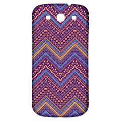 Colorful Ethnic Background With Zig Zag Pattern Design Samsung Galaxy S3 S Iii Classic Hardshell Back Case by TastefulDesigns