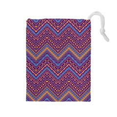 Colorful Ethnic Background With Zig Zag Pattern Design Drawstring Pouches (large)  by TastefulDesigns