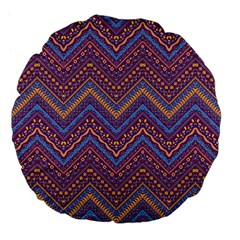 Colorful Ethnic Background With Zig Zag Pattern Design Large 18  Premium Flano Round Cushions by TastefulDesigns