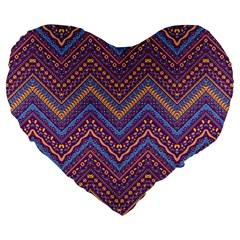 Colorful Ethnic Background With Zig Zag Pattern Design Large 19  Premium Flano Heart Shape Cushions by TastefulDesigns