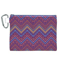 Colorful Ethnic Background With Zig Zag Pattern Design Canvas Cosmetic Bag (xl) by TastefulDesigns