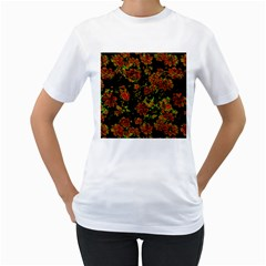 Floral Dreams 12 C Women s T Shirt (white) (two Sided) by MoreColorsinLife