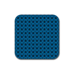 Lion Vs Gazelle Damask In Teal Rubber Square Coaster (4 Pack)  by emilyzragz