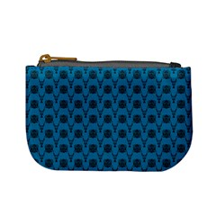 Lion Vs Gazelle Damask In Teal Mini Coin Purses