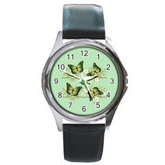 Four Green Butterflies Round Metal Watch by linceazul