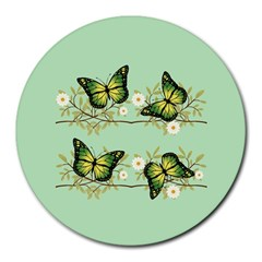 Four Green Butterflies Round Mousepads by linceazul