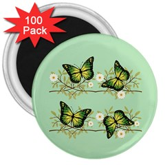 Four Green Butterflies 3  Magnets (100 Pack) by linceazul
