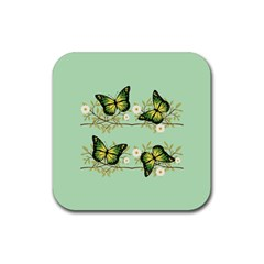 Four Green Butterflies Rubber Square Coaster (4 Pack)  by linceazul