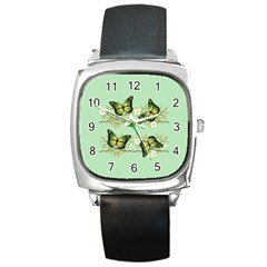 Four Green Butterflies Square Metal Watch by linceazul