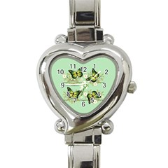 Four Green Butterflies Heart Italian Charm Watch by linceazul