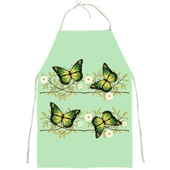 Four Green Butterflies Full Print Aprons by linceazul