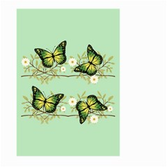 Four Green Butterflies Large Garden Flag (two Sides) by linceazul