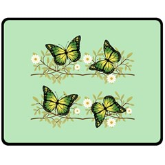 Four Green Butterflies Double Sided Fleece Blanket (medium)  by linceazul