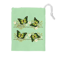Four Green Butterflies Drawstring Pouches (extra Large) by linceazul