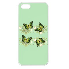 Four Green Butterflies Apple Iphone 5 Seamless Case (white) by linceazul
