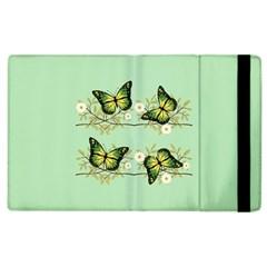 Four Green Butterflies Apple Ipad 2 Flip Case by linceazul