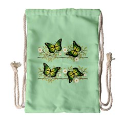 Four Green Butterflies Drawstring Bag (large) by linceazul