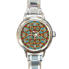 Geometric Multicolored Print Round Italian Charm Watch by dflcprints